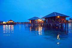 Stilt houses in Sipadan Mabul  Resort Royalty Free Stock Image