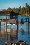 Stilt hut in a lake Stock Photos