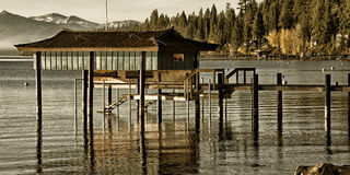 Stilt hut in a lake Royalty Free Stock Photo