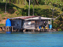 Stilt hut over caribbean sea Royalty Free Stock Images