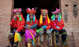 Stilt performing team. The annual Chinese traditional Spring Festival, to be held around the country a variety of celebrations. Strong religious culture and folk Stock Photos