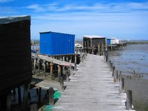 Stilt Pier VI. Fisherman Shacks in a stilt pier, by the Sado estuary in Portugal Stock Images