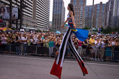 Stilt Walker. Toronto's 28th Pride Parade. The proud participants marched south on  Yonge Street, the world's longest street. It is believed that one million Royalty Free Stock Images