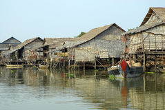 Stilted floating village. A floating village on Siem Reap Lake during rainy season in Cambodia. The foregound is usually a road stock photo