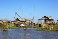 Stilted houses in village on Inle lake Stock Photo