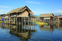 Stilted houses in village on Inle lake Royalty Free Stock Photo