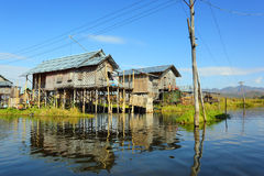 Stilted houses in village on Inle lake Royalty Free Stock Photos
