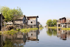 Stilted Village on Lake. A stilted village at Inle Lake in Myanmar Royalty Free Stock Photos