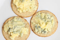 Stilton Cheese & Biscuits Royalty Free Stock Photography