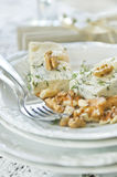 Stilton cheese and walnuts Stock Photos