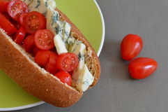 Stilton and Cherry Tomato Sub Roll Royalty Free Stock Images