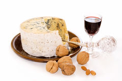 Stilton Port and Walnuts Royalty Free Stock Photos