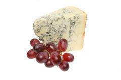 Stilton and red grapes Stock Photos