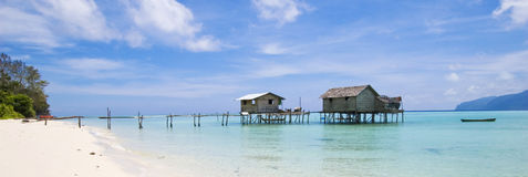 Stilts houses. These are the only 2 houses on water found in this island near Sipadan, a famous place for snorkeling and diving. Its in Borneo, Malaysia Stock Images