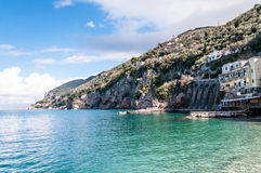 Stilts over the Sorrento coast sea. Angle View on the Sorrento Peninsula stock photography