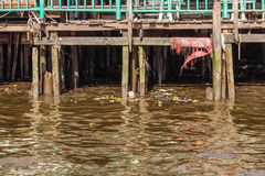 Stilts and polluted water Stock Photo