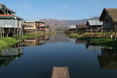 The stilts village of Maing Thauk on Lake Inle. Burma Royalty Free Stock Photos