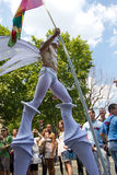 Stiltwalking man in 2010 Gay pride in Paris France Stock Images
