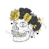 Stilvoll in einem Kranz von Blumen Vector Illustration für eine Karte oder Plakat, Druck auf Kleidung Das Hippie-Skelett Mode u.  lizenzfreie abbildung