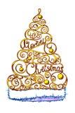 Stilvolle Aquarellzeichnung Eine Kappe in Form eines Weihnachtsbaums mit einer Aufschrift Getrennt stockfoto