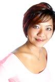 Stilvolle asiatische Frau in der beiläufigen modischen Kleidung. stockbild