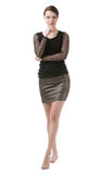 Stilvolle barfüßigfrau im Schwarzen Stockfoto