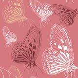 Stilvolle Beschaffenheit des nahtlosen Weinlesemusters Wiederholen des Schmetterlinges Lizenzfreie Stockbilder