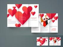 Stilvolle dreifachgefaltete Broschüren-, Katalog- und Fliegerschablone für Liebes-PU Stockbild
