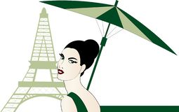 Stilvolle Frau am Eiffelturm lizenzfreie abbildung