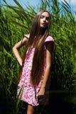 Stilvolle Frau im rosa Kleid im hohen Gras Lizenzfreie Stockbilder