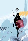 Stilvolle Frau mit Tasche auf dem abstrakten Hintergrund und den Elementen bildete sich durch künstlerische Flecken und Flecke Lizenzfreies Stockbild