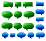 Stilvolle grüne u. blaue Sprache-Luftblasen Stockbilder