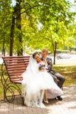 Stilvolle Hochzeitspaarbraut im weißen Kleid und Stockbilder