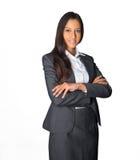Stilvolle Hosteß oder Geschäftsfrau, die wartend steht Stockfoto