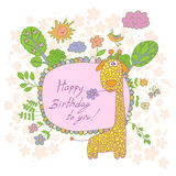 Stilvolle Karikaturkarte gemacht von den netten Blumen, gekritzelte Giraffe Stockfotos