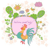 Stilvolle Karikaturkarte gemacht von den netten Blumen, gekritzelter Hahn Stockfoto
