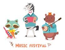 Stilvolle Karte oder Plakat mit nettem Tierband in der Karikaturart Vector Illustration mit Tiermusikern im Musikfestival lizenzfreie abbildung