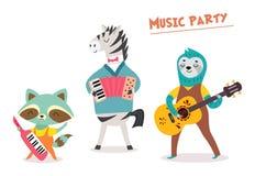 Stilvolle Karte oder Plakat mit nettem Tierband in der Karikaturart Vector Illustration mit Tiermusikern in der Musikpartei vektor abbildung