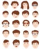 Stilvolle männliche Leutecharaktersammlung des verschiedenen Einzelpersonenporträts Stockfotografie