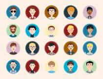 Stilvolle männliche Leutecharaktersammlung der verschiedenen Besetzung, des Berufs und anderen Sozialeinzelpersonenporträts Stockfotografie