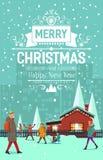 Stilvolle moderne flache Weinlese Weihnachtskarte Stockbild