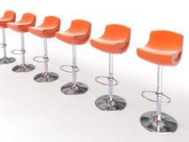 Stilvolle orange Cafeteriastühle Stockfotos