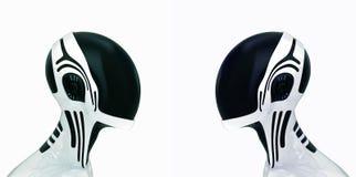 Stilvolle Roboterköpfe im Sturzhelm Stockfotografie