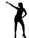 Stilvolle Schattenbildfrauentänzer-Tanzenhaltung Lizenzfreie Stockfotos