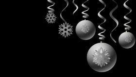 Stilvolle silberne Weihnachtsdekoration Stockbilder