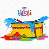 Stilvolle Wanne mit Farbe für Holi-Festivalfeier Stockfotos