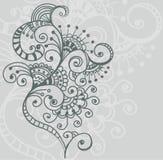 Stilvoller Blumenhintergrund, Hand gezeichnete Blumen Stockfotos