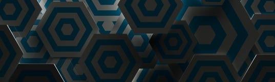 Stilvoller dunkelblauer und weißer Hexangon-Hintergrund u. x28; Website-Kopf, 3D Illustration& x29; Stockfoto