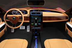 Stilvoller Elektroautoinnenraum mit hölzerner Musterluxusdekoration Stockfoto