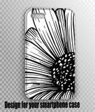 Stilvoller Entwurfsabdeckung Smartphone Ausführlicher Blumendruck vektor abbildung